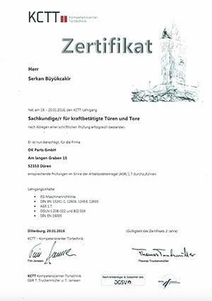 OK Parts GmbH Zertifikate