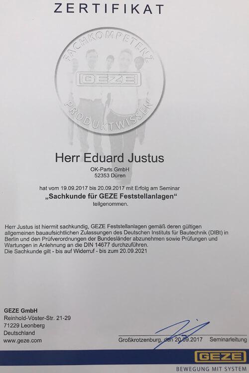 Zertifikat GEZE