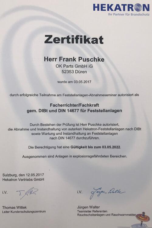Zertifikat Hekatron