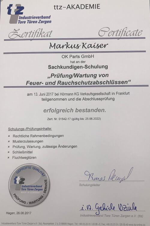 Zertifikat TTZ